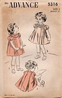 Notice the shorter puffed sleeves and peter pan collars in this sewing pattern illustration from the 1930s.