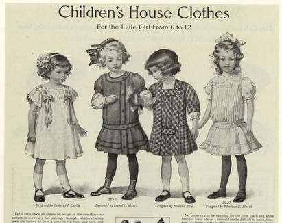 Small children's clothes from 1910. Note the embellishments such as ruffles and ribbons.  Puffed sleeves reach near the elbow or longer.